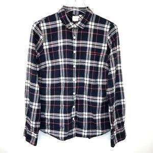 J Crew The Perfect Shirt Plaid Button Down Blue M